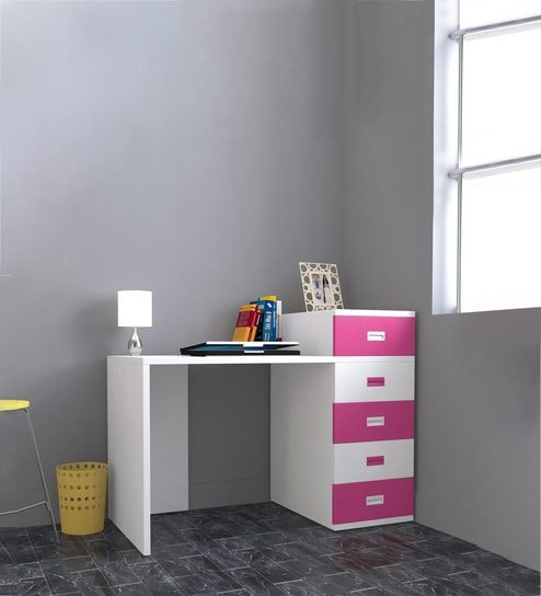 Abby Study Table With Drawers Iii In Pink White Colour By Unicos