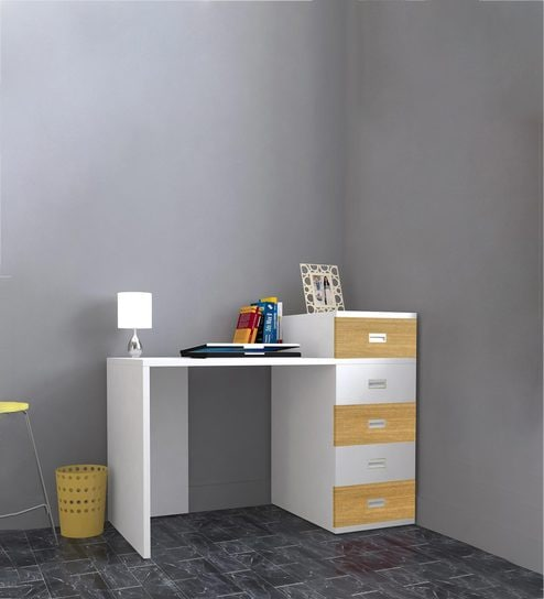 Abby Study Table With Drawers   III In Urban Teak U0026 White Colour By UNiCOS