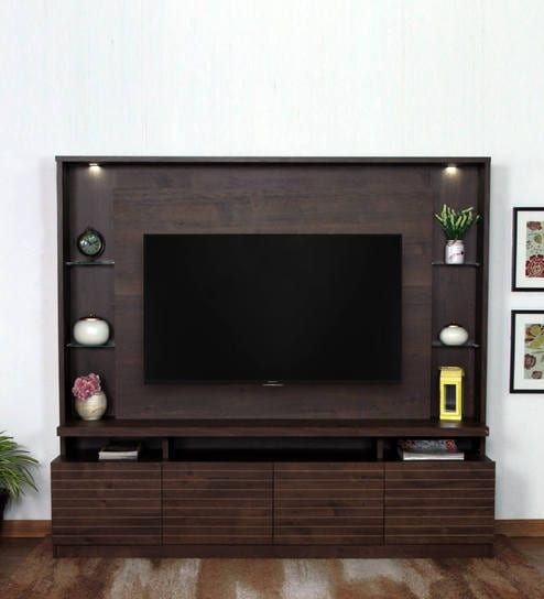 buy abril tv unit in rustic brown finish by casacraft online rh pepperfry com tv unit furniture pune tv unit furniture image