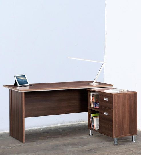 Absolute Office Desk With Side Unit In Acacia Dark By Debono