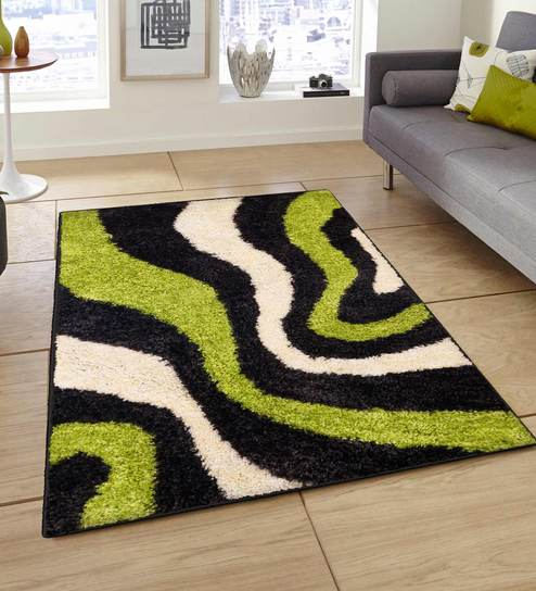 Buy Abstract Black Green 3 X 5 Feet Machine Made Polyester Carpet