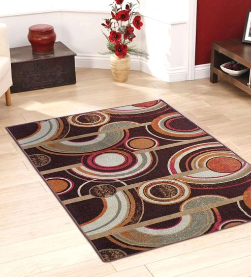 Abstract Nylon 5 X 3 Feet Machine Made Carpet By Status