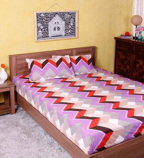 Abstract Pattern 144TC Cotton Queen Size Bed Sheet With 2 Pillow Covers By  Home Decor