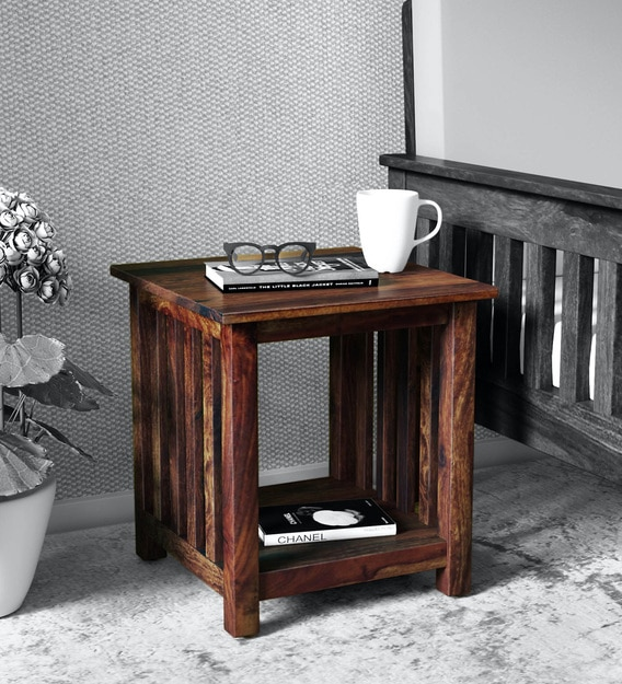 Buy Abbey Solid Wood End Table In Provincial Teak Finish Woodsworth By Pepperfry Online Contemporary End Tables Tables Furniture Pepperfry Product