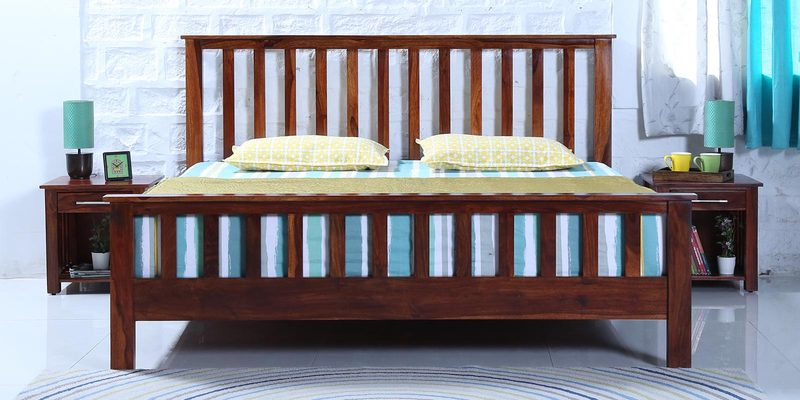 Abbey Solidwood King Bed in Honey Oak Finish by Woodsworth