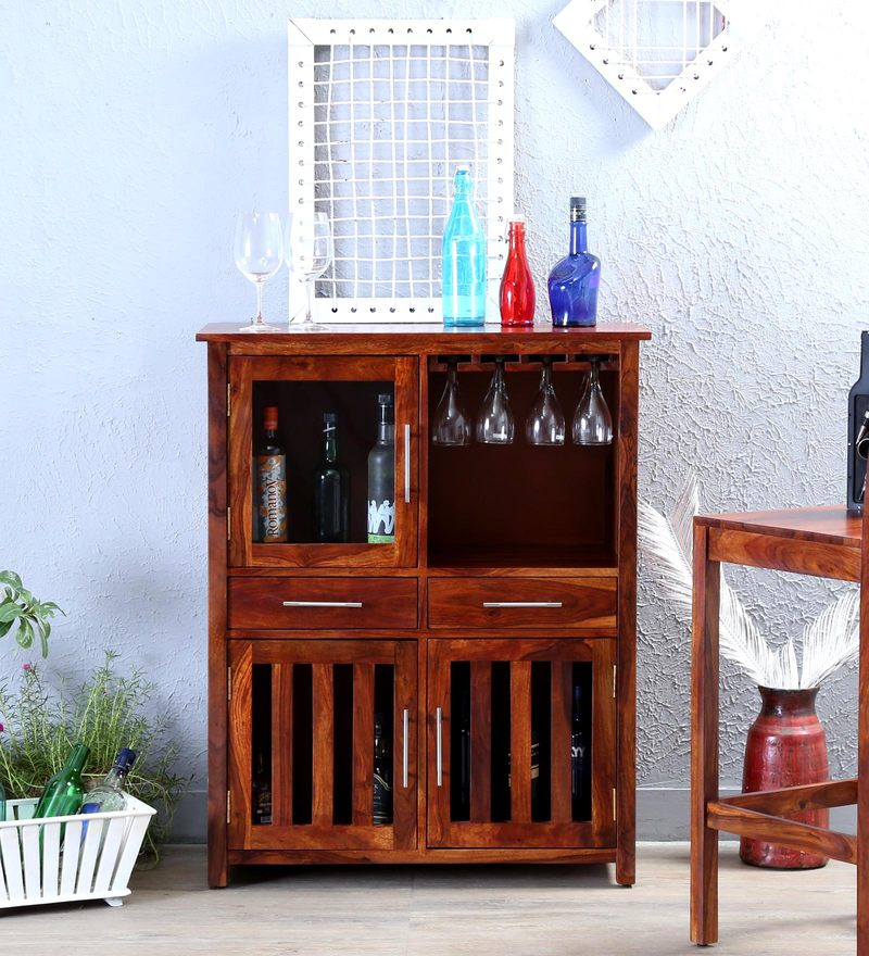 Abbey Bar Cabinet in Honey Oak Finish by Woodsworth