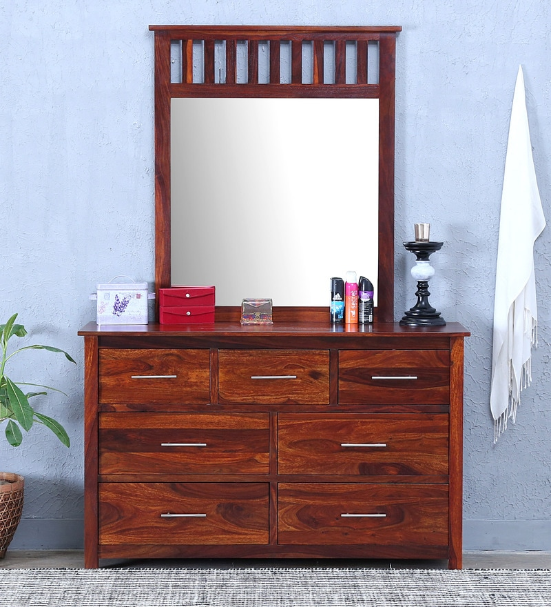Abbey Dressing Table with Mirror in Honey Oak Finish by Woodsworth