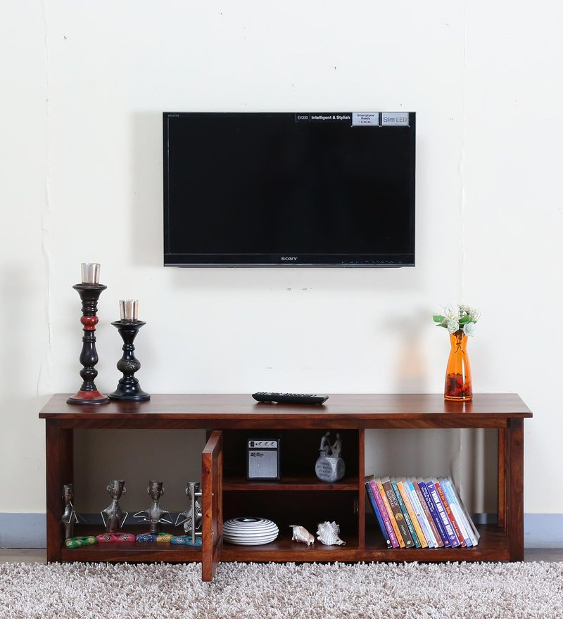 Abbey Entertainment Unit in Honey Oak Finish by Woodsworth