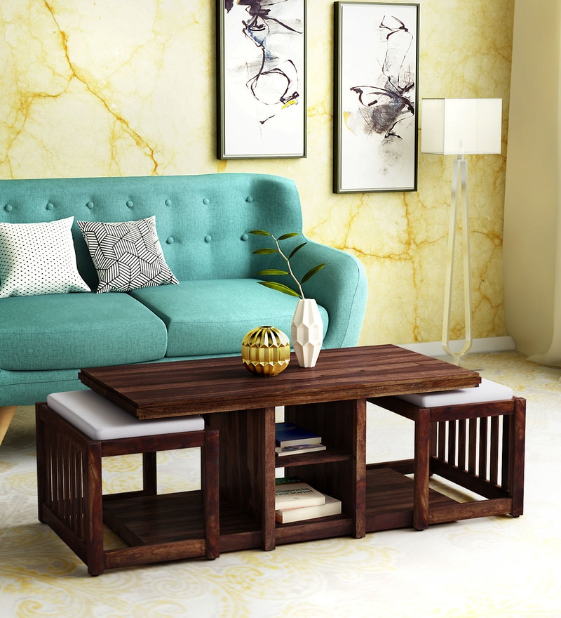 Buy Abbey Solid Wood Coffee Table Set With Two Stools In Provincial