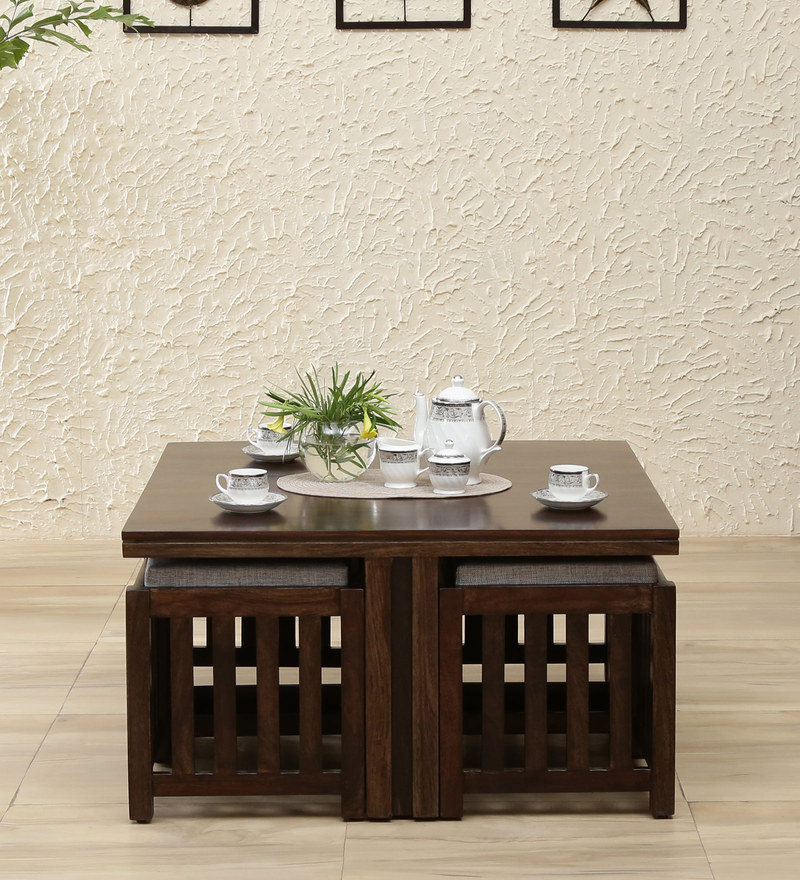 Abbey Solid Wood Coffee Table With 4 Stools In Warm Chestnut Finish