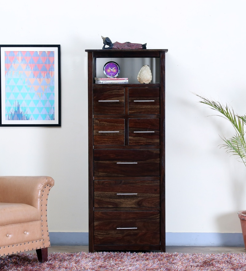 Abbey Tall Chest Of Drawer in Warm Chestnut Finish by Woodsworth