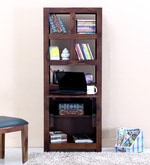 Acropolis  Folding Study & Laptop Table with Bookshelf in Provincial Teak Finish