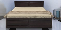 Acura King Size Bed with Box Storage in Dark Walnut Finish