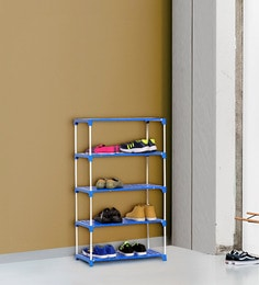 Ace Multipurpose 5 Tier Steel Shoe Rack with Plastic Shelves in Blue & White Colour ...
