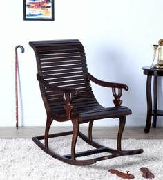 Acklom Solid Wood Rocking Chair In Warm Chestnut Finish