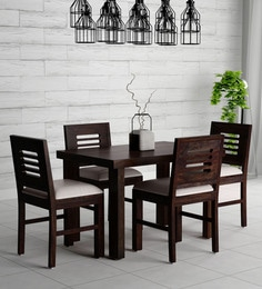 Acropolis Solid Wood Cushioned Four Seater Dining Set In Warm Chestnut Finish