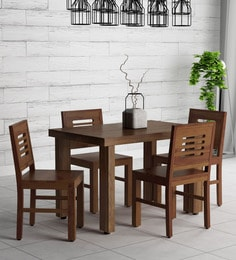 4 seater dining table space saving acropolis solid wood four seater dining set in provincial teak finish sets buy online