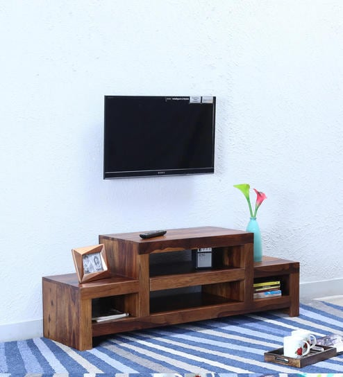 Buy Acropolis Solid Wood TV Unit in Provincial Teak Finish by ...