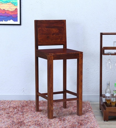 Buy Acropolis Solid Wood Bar Stool In Honey Oak Finish By Woodsworth
