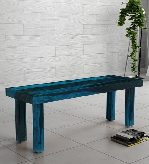 Fine Acropolis Solid Wood Bench In Ocean Blue Finish By Woodsworth Unemploymentrelief Wooden Chair Designs For Living Room Unemploymentrelieforg