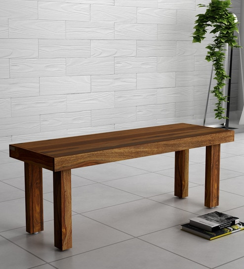 Acropolis Solid Wood Bench In Rustic Teak Finish By Woodsworth