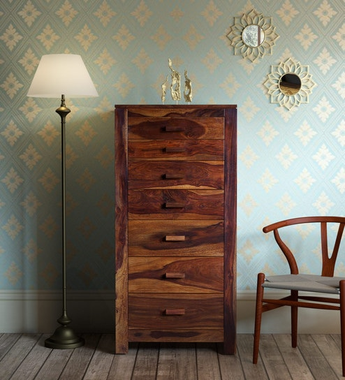 Buy Acropolis Solid Wood Chest Of Seven Drawers In Provincial Teak