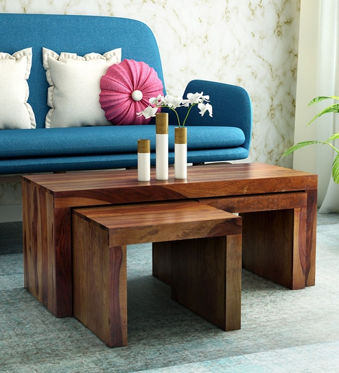 Coffee Table With Stools.Acropolis Solid Wood Coffee Table Set With Two Stools In Provincial Teak Finish By Woodsworth