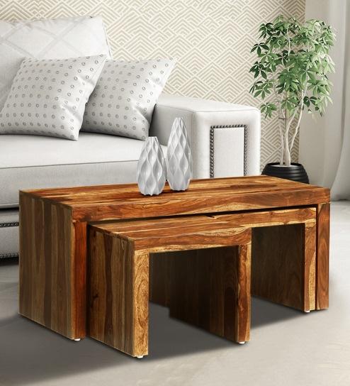 Buy Acropolis Solid Wood Nesting Coffee Table Set In Rustic Teak