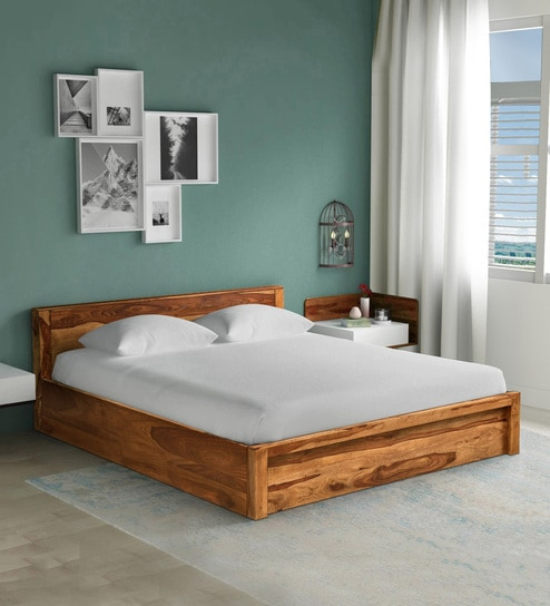 Pepperfry & Acropolis Solid Wood King Size Bed with Storage in Rustic Teak Finish by Woodsworth