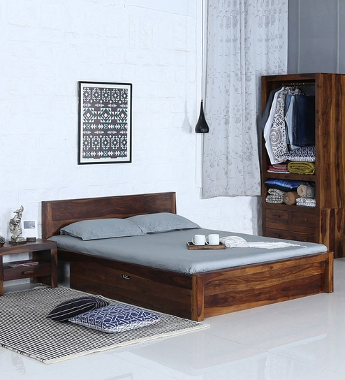 Brilliant Acropolis Solid Wood King Size Bed With Storage In Provincial Teak Finish By Woodsworth Forskolin Free Trial Chair Design Images Forskolin Free Trialorg