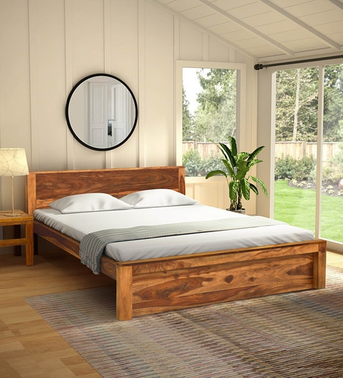 Pepperfry & Acropolis Solid Wood Queen Size Bed in Rustic Teak Finish by Woodsworth