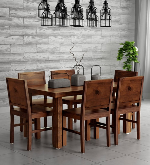Buy Acropolis Solid Wood Six Seater Dining Set In Provincial Teak Finish By Woodsworth Online