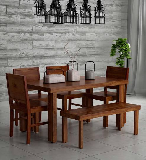 Incredible Acropolis Solid Wood 6 Seater Dining Set With Bench In Provincial Teak Finish By Woodsworth Beutiful Home Inspiration Xortanetmahrainfo