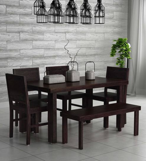 Buy Acropolis Solid Wood Six Seater Dining Set With Bench In Warm Chestnut Finish By Woodsworth Online