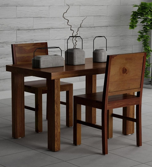Acropolis Solid Wood 2 Seater Dining Set In Provincial Teak Finish By Woodsworth