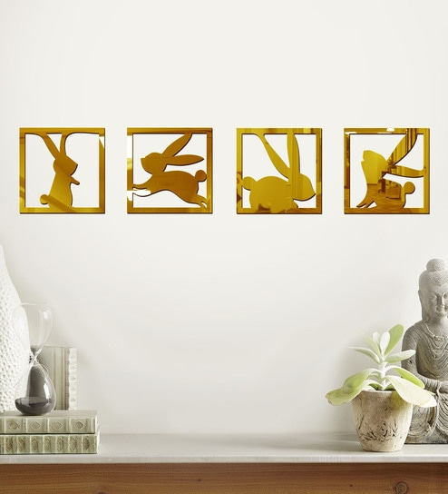Buy Acrylic Gold Bunny Wall Decals by Sehaz Artworks Online - Animal ...