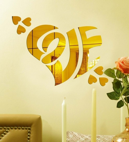 Buy Acrylic Gold Love Heart Wall Decals by Sehaz Artworks Online ...