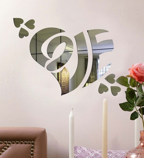 buy acrylic silver love heart wall decals by sehaz artworks online