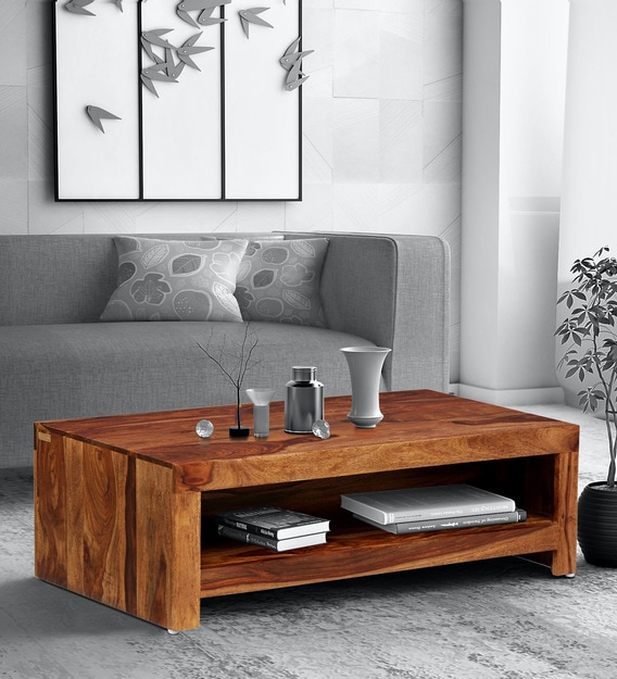 Buy Acropolis Solid Wood Coffee Table In Rustic Teak Finish By Woodsworth Online Modern Rectangular Coffee Tables Tables Furniture Pepperfry Product