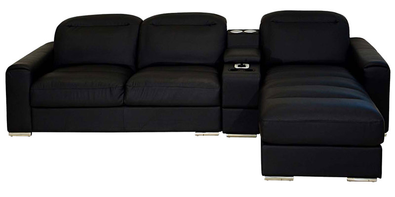 Buy Acoustica Lhs Two Seater Sofa With Lounger In Black