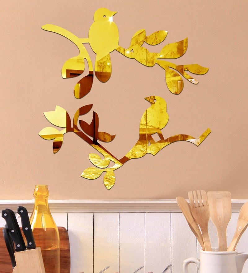 Acrylic Birds on Branch Gold Wall Decals by Sehaz Artworks