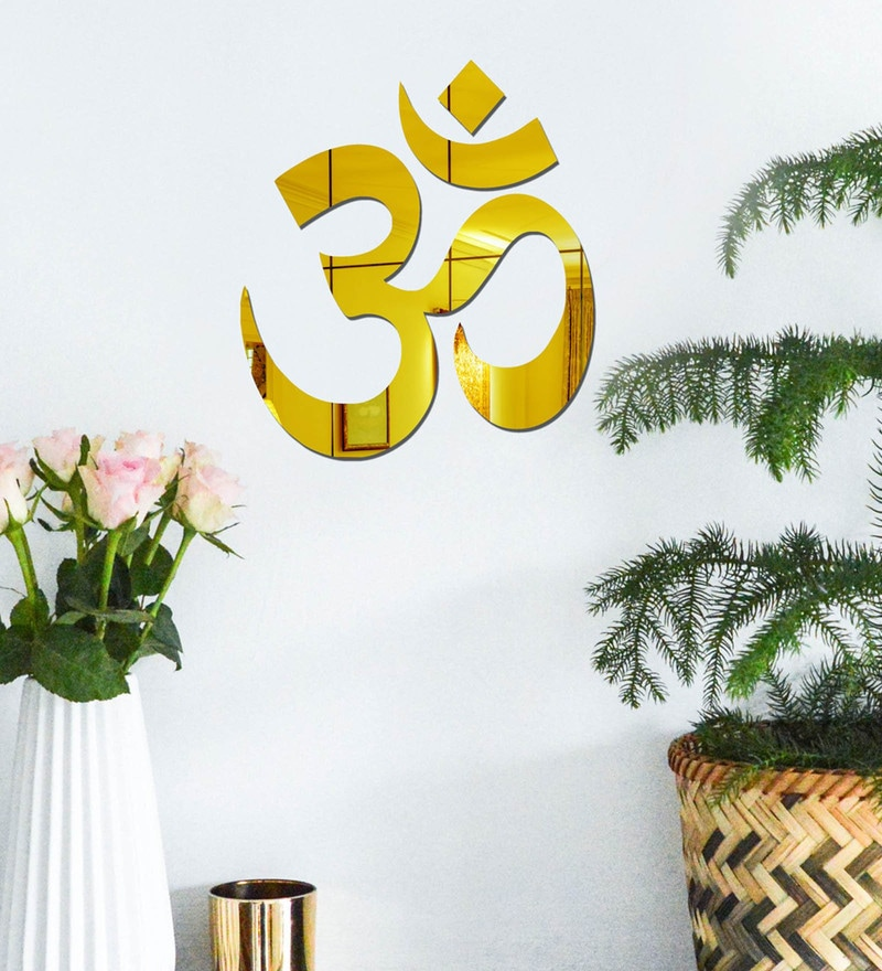 Acrylic Gold Om Wall Decals by Sehaz Artworks