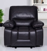 Adam One Seater Manual Recliner Sofa in Dark Brown Leatherette