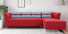 Adelia LHS Three Seater Sofa with Lounger in Crimson Red Colour