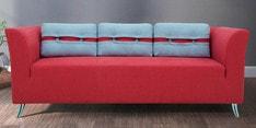 Iowa Three Seater Sofa in Crimson Red Colour