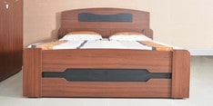 Adora Queen Size Bed with Storage in Walnut & Black Finish