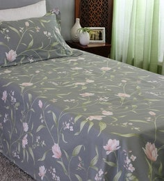 Adele Floral Pattern 210 TC 100% Cotton Single Size Bedsheet With 1 Pillow  Cover ...
