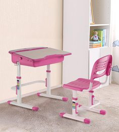 Adjustable Study Table And Ergonomic Chair Set With Auto Height Lock Features In Pink Color