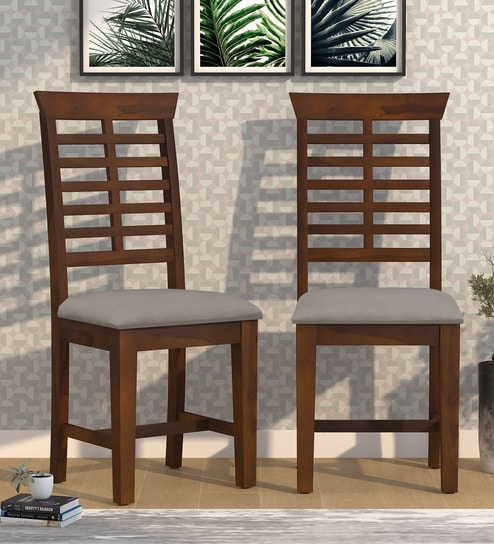 Adam Solid Wood Dining Chair Set Of 2 In Provincial Teak Finish By Woodsworth