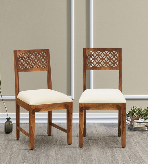 Aditi Solid Wood Dining Chair Set Of 2 In Rustic Teak Finish By Mudramark